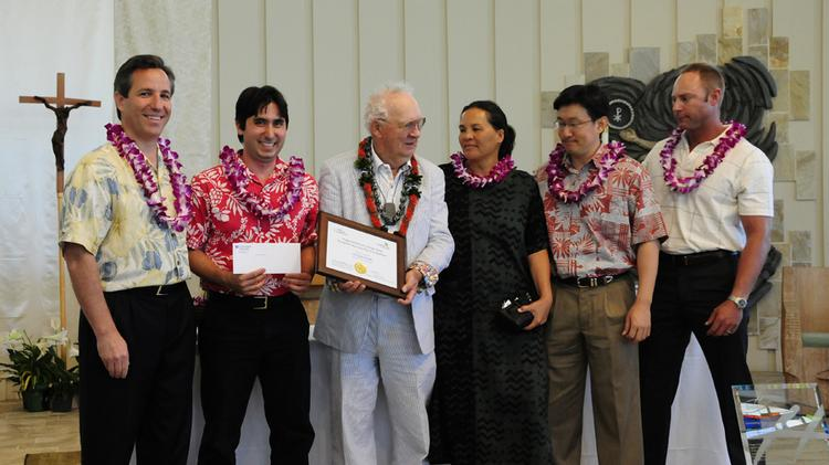 First place winners of the Hogan Entrepreneurs/American Savings Bank Nonprofit Business Plan Competition. From left, Rich Wacker, president and CEO of American Savings Bank, David Walfish, Ed Hogan, chairman of the Hogan Family Foundation, Ilima Ho Lastimosa, Keith Sakuda and Eric Martinson of Hooulu Pacific.