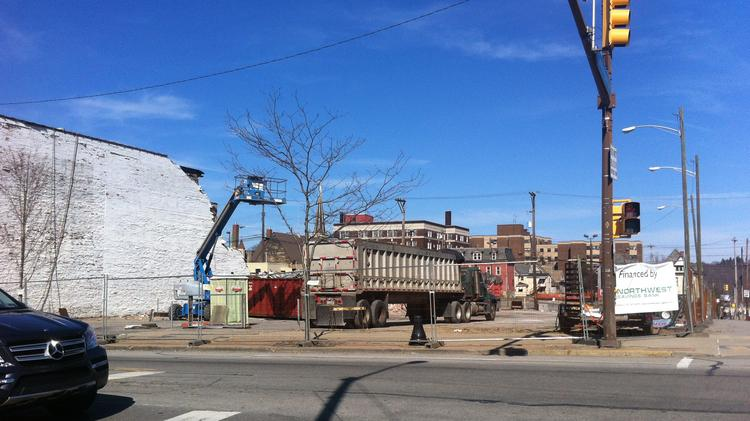 The first major development project in Downtown Butler in decades got underway in late April at the corners of Main and Cunningham Streets.