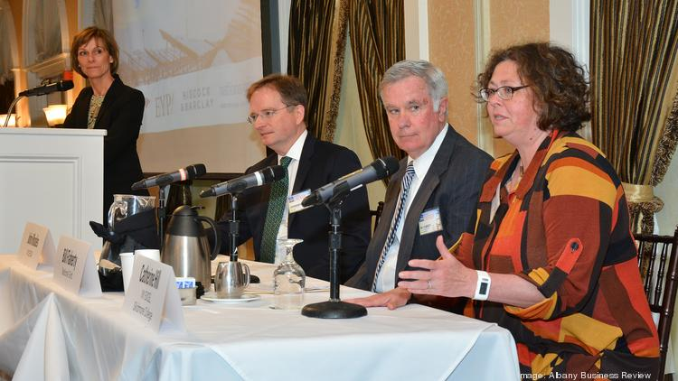 The Business Review hosted a Power Breakfast today focused on the energy industry. Panelist are from left John Rhodes, president and CEO of the New York State Energy Research Development Authority; Bill Flaherty, executive director of National Grid; and Catherine Hill, director of New York Executive Clean Energy Leadership Program. To the far left is moderator Carolyn Jones, publisher of the Albany Business Review.