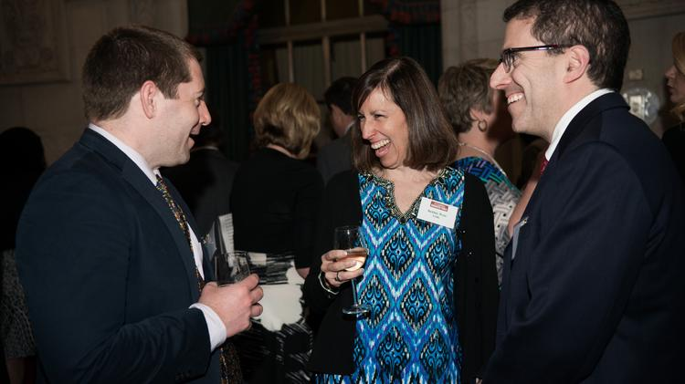 From left: Charles Atkinson and Debbie Weis, both with GSK, socialize with Jay Marinstein of Fox Rothschild LLP at the Pittsburgh Business Times 2014 Diamond Awards reception Thursday at the Duquesne Club in downtown Pittsburgh. The awards honors Pittsburgh's top business leaders.