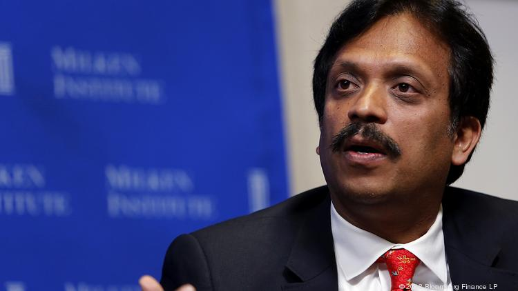 Sajan Pillai, CEO of UST Global Inc., speaking at the annual Milken Institute Global Conference in California. Pillai appeared at the FICCI-IIFA Global Business Forum in Tampa on Friday morning.
