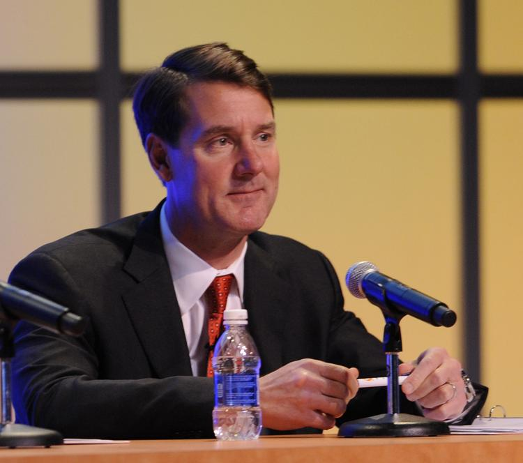 PNC Financial Services Group's William Demchak at Tuesday's shareholder meeting.