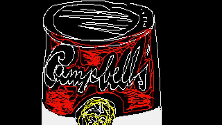 Andy Warhol's Campbell's Soup can, created on an Amiga computer, 1985