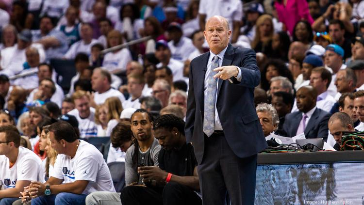 Bobcats coach Steve Clifford directs his players on the floor during the playoffs versus the Miami Heat.