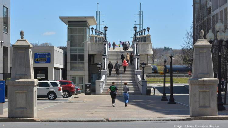 Albany Mayor Kathy Sheehan wants to improve the plaza off Broadway at the foot of the Hudson River Walkway, a pedestrian bridge that links downtown's core with Jennings Landing and other areas in the Corning Preserve.