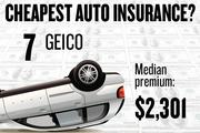 No. 7. GEICO, with a median premium in the four-county region of $2,301 for a married couple with no accidents buying standard auto coverage, according to 2013 survey data by the state Department of Insurance.