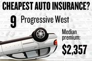 No. 9. Progressive West, with a median premium in the four-county region of $2,357 for a married couple with no accidents buying standard auto coverage, according to 2013 survey data by the state Department of Insurance.