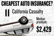 No. 11. California Casualty, with a median premium in the four-county region of $2,429 for a married couple with no accidents buying standard auto coverage, according to 2013 survey data by the state Department of Insurance.