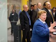 U.S. Sen. Barbara Mikulski speaks as UMBC launches its new Science Learning Collaboratory, a large open lab for STEM students to get hands on experience. UMBC President Freeman A. Hrabowski III, right, shares a laugh.