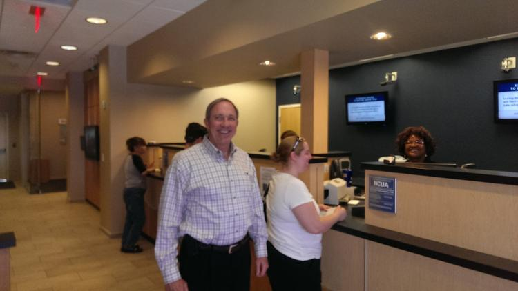 CEO of Navy Federal Credit Union Cutler Dawson during a visit to the Atlantic Boulevard branch. According to a Pensacola, Florida, news report, Dawson said the workforce and community support in Northwest Florida are important to the credit union's growth and success.