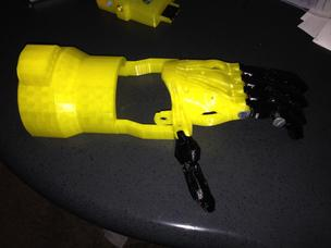 The first try at creating a 3D printed hand prosthetic. The device was made by Portland Entrepreneur Shashi Jain for Portland State University student Jordan Nickerson.