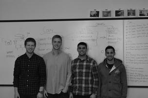 Scott Scherpenberg (second from left) and Lucas Williamson (second from right) met three years ago as students in the industrial design program at Ohio State University. They formed Juiceboxx in November 2013, and that's when Andrew Lien (far left) and Samuel Silverman (far right) joined up.