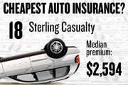 No. 18. Sterling Casualty, with a median premium in the four-county region of $2,594 for a married couple with no accidents buying standard auto coverage, according to 2013 survey data by the state Department of Insurance.