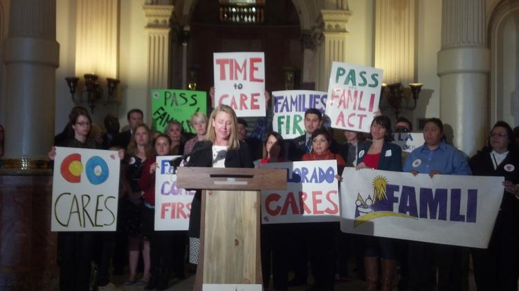 Lisa Goodbee, president of Centennial engineering firm Goodbee & Associates Inc., speaks about her support for Senate Bill 196 at a rally in the Colorado Capitol before an April 28 committee hearing on the bill to create a paid sick-leave program.