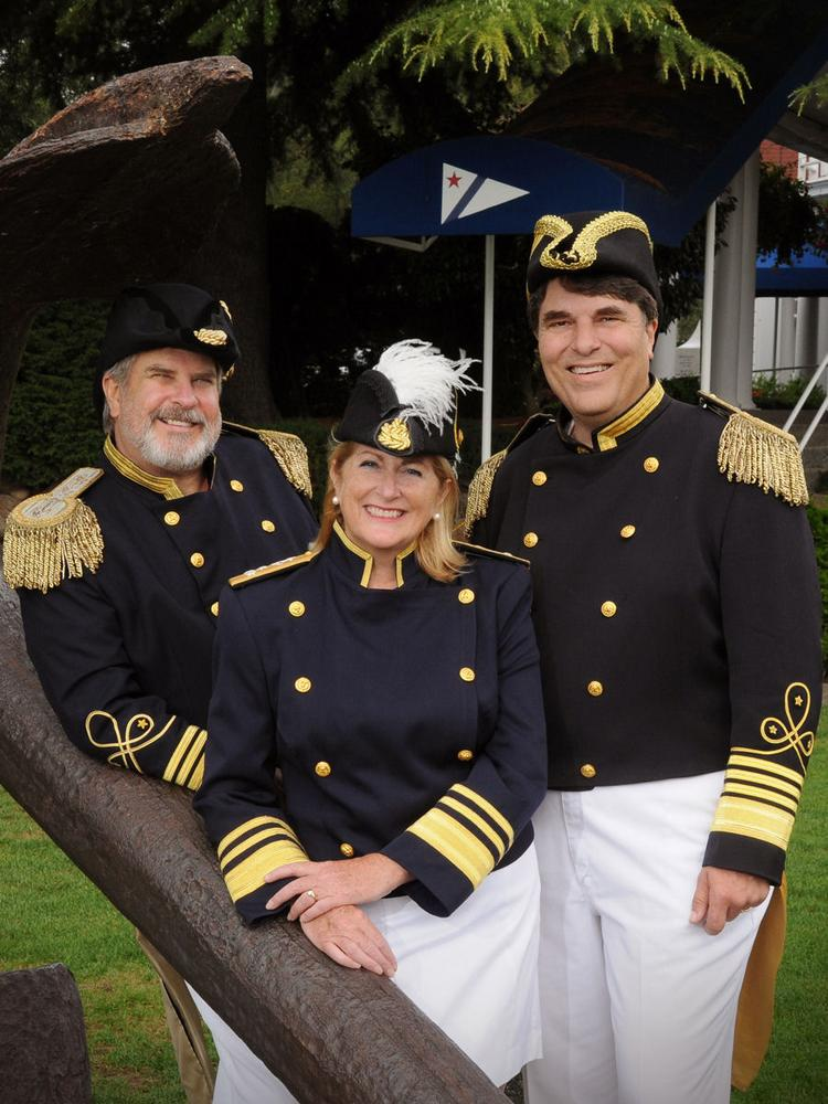 "From left, Vice Admiral Ted Shultz, Admiralette Shawn Otorowski and Admiral Michael Carrosino, this year's trio of ""royalty"" for Seattle Yacht Club's Opening Day, the start of boating season."