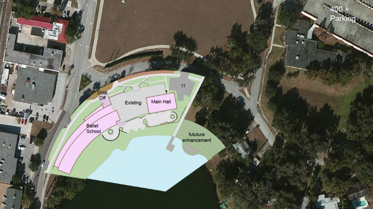 Map overlay of the existing Loch Haven Community Center and the Orlando Ballet's additions.