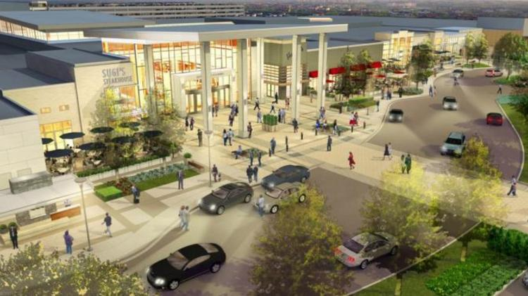 An exterior rendering of the new Springfield Town Center, aka the old Springfield Mall, reimagined.