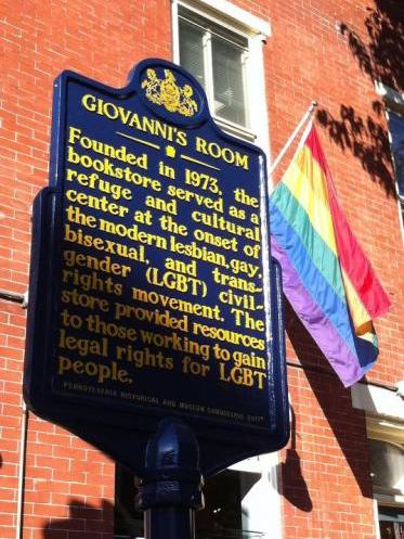 The historical marker for Giovanni's Room.