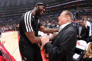According to a recording, L.A. Clippers owner Donald Sterling told his former mistress she shouldn't bring black people to his basketball games. The comment on its own has plenty of people calling for him to give up his team. But it's also remarkable given the strong participation of African American players and fans in the NBA. Here, Sterling greets Reggie Evans of the Brooklyn Nets before a game on November 16, 2013.