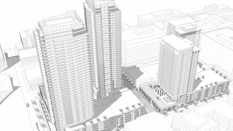 The Onni Group is proposing to build four residential towers on top of two full-block podiums. Zoning allows 400-foot tall towers on the south block and 240-foot-tall buildings on the north block. The Onni Group's project is between Denny Way and Thomas Street and Boren and Fairview avenues north.