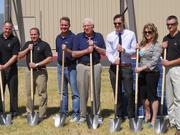 Officials from Bonded Logic, SRP and Harmon Solar at Tuesday's groundbreaking.