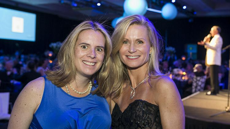 Molly Otter, left, planning committee chairwoman for Celebrate Swedish, Lida Buckner, chairwoman of the Swedish Medical Center Foundation board at the Swedish gala April 26, which raised $4.6 million. Otter was due to have her baby that night, but came, dressed up, to Celebrate Swedish.