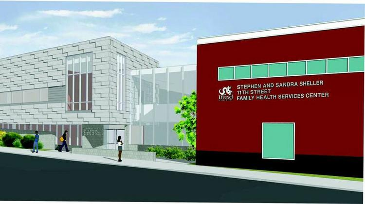 Rendering of the expansion of Drexel University's 11th Street Family Health Services Center