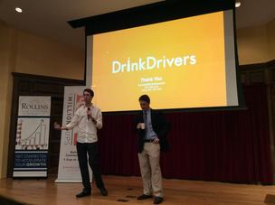 DrinkDrivers co-founder Craig Bolz, left, and CEO Jeff Nadel field questions at the 1 Million Cups Orlando event April 30.