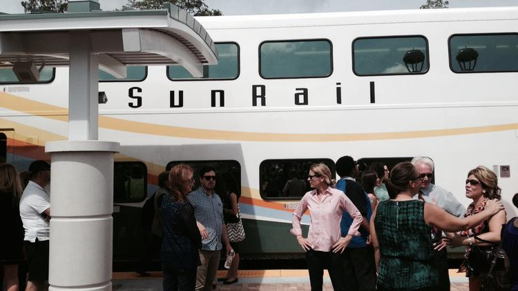 The business community and local officials gather for the SunRail preview on April 30.