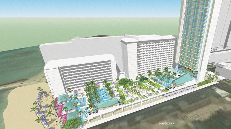 This rendering shows the planned 200-room hotel tower to be built at the Outrigger Reef on the Beach.