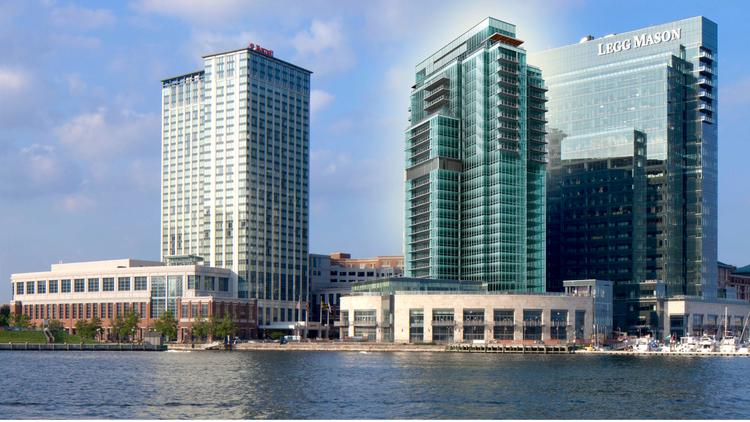 A rendering of the Four Seasons Baltimore condo addition, center, in Harbor East.
