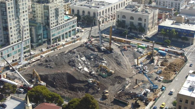 Demolition of the old Cathedral Hill Hotel is complete, according to officials at California Pacific Medical Center, which is building a $2.1 billion hospital on the site.