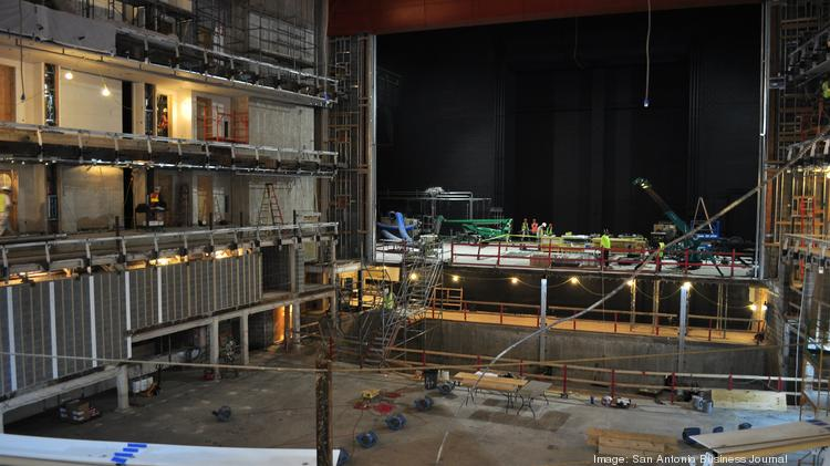 Crews work in September 2013 to transform the Municipal Auditorium into the new Tobin Center for Performing Arts, which will open this fall.