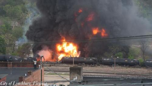 Fiery derailments such as this one in Lynchburg, Virginia, have brought attention to oil train safety.