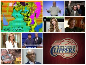 Clockwise from top left: One of the digital Warhols discovered at Carnegie Mellon University; ousted Mozilla CEO Brendan Eich; hedge fund hacker Andrew Auernheimer; Silicon Valley's T.J. Miller; Birchbox co-founder Katia Beauchamp; Donald Sterling's NBA team (for now); Aereo CEO Chet Kanojia; a buried ET videogame; new Apple retail chief Angela Ahrendts; and Jeopardy champion Arthur Chu with Alex Trebek.