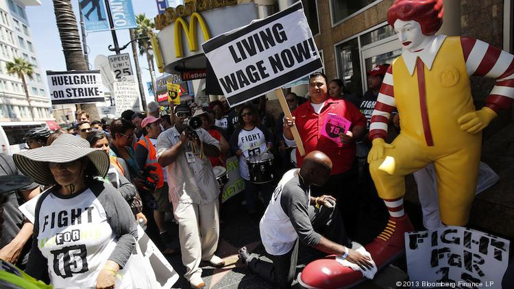 Legislation to raise the federal minimum wage is stalled in the Senate, so you can expect to see more demonstrations such as this one, outside a McDonald's in Los Angeles last year.
