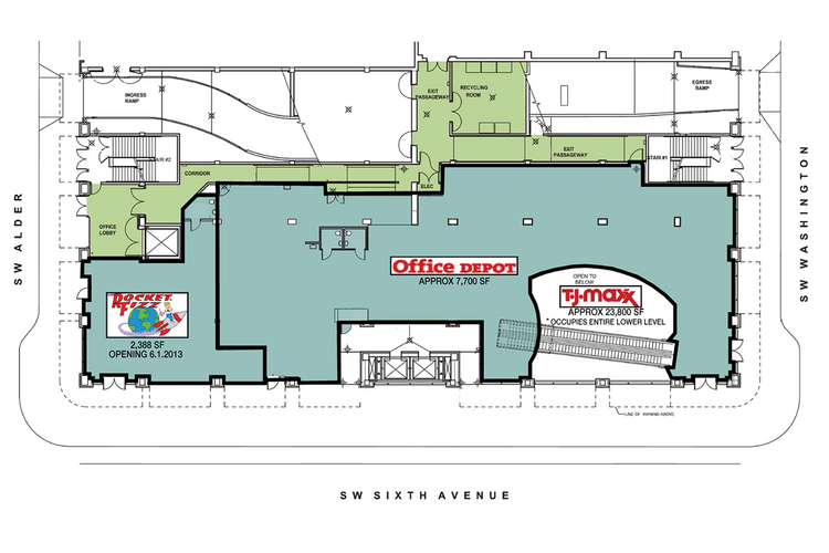 This footprint schematic shows Rocket Fizz's new location in the Sixth Avenue Center.