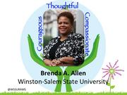 Brenda A. Allen, provost and vice chancellor for academic affairs at Winston-Salem State University    Allen has led the charge to completely overhaul and revamp the curriculum at the university, the most all-encompassing transformation of the university's general education curriculum in 50 years. She is also engaged in many committees on campus, including the fundraising efforts for the Student Success Center and she serves on the school's Advisory Council.     Considered an inspiring mentor who nurtures the talents of her staff and students, she also gives her time to the board of the Arts Council of Winston-Salem and soon will be joining the Habitat for Humanity board.