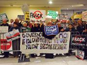 An anti-fracking demonstration at Empire Plaza concourse in Albany, New York.