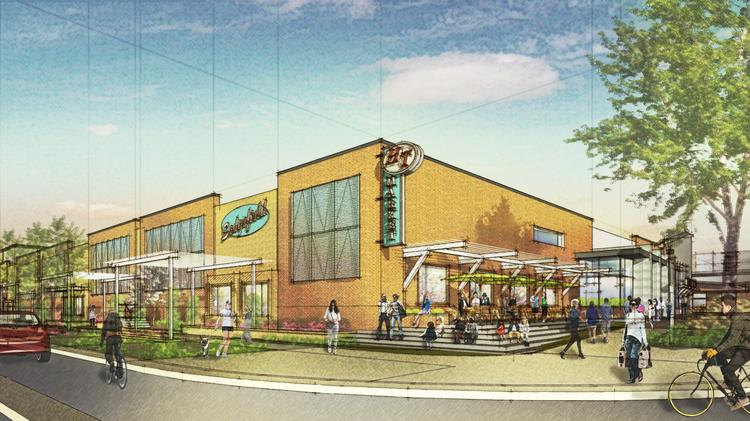 The planned Harris Teeter store will feature a mid-century modern style that the developers say is a nod to the shopping center's roots.