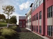 A look at the rear elevation of the proposed Archer Park multifamily building.