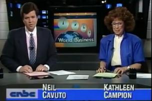 Neil Cavuto and Kathleen Campion anchor CNBC's first broadcast in 1989.