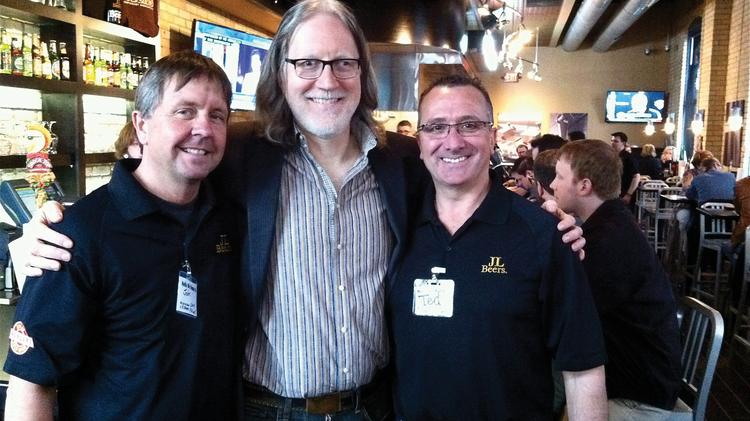 From left, John Glockner, Mike Wright and Ted Coulter of JL Beers' new location.