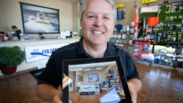 Bob Bense, owner of Superior Boat Repair & Sales, uses Google Business View, a service that lets customers use the Internet to tour his store.