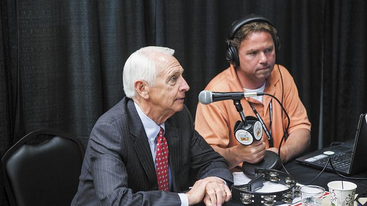 Governor Steve Beshear talks with Tony Randolph of Rock 93.7, out of Cookeville, Tn., during the Morning Line on Tuesday morning at Chuchill Downs.