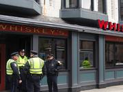 Police presence was heavier than usual, but not massive, as Boylston Street reopened.