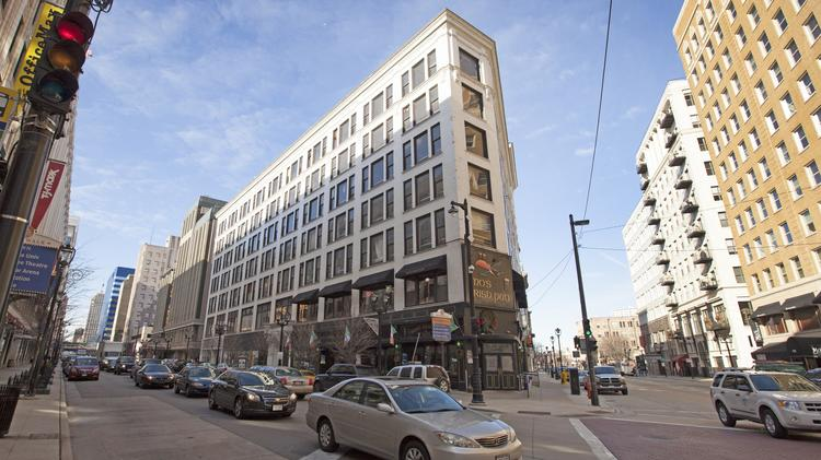 The Posner Building in downtown Milwaukee is across from The Shops of Grand Avenue.