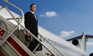 The character Don Draper, played by actor John Hamm, exits a plane
