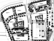 The site plan for Innovation Center South shows two office buildings fronting the Dulles Toll Road, a hotel adjacent to the Metro station, and four residential buildings to the south and west.