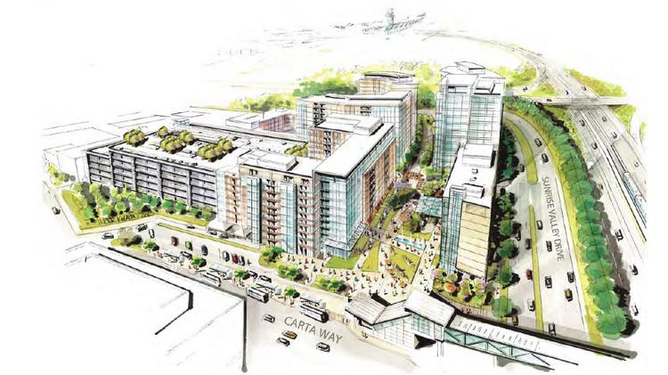 An overview rendering of Innovation Center South, a 1.6 million-square-foot development proposal from Nugget Joint Venture LC.